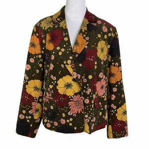 DALIA Velvet Floral Single Breasted Jacket